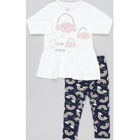 8c96d87cc CEA. Conjunto Infantil De Blusa Com Nuvens Manga Longa Off White + Calça  Legging Estampada Azul Marinho