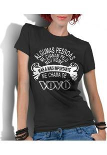 Camiseta Criativa Urbana Frases Vovó - Feminino-Preto