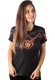 Camiseta Baby Look Barroco Amuleto Dourado Md02