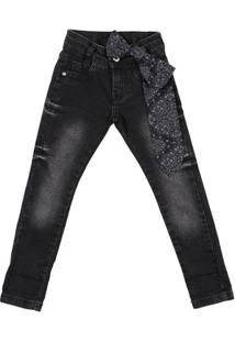 Calça Jeans Infantil Akiyoshi Feminina - Feminino-Preto
