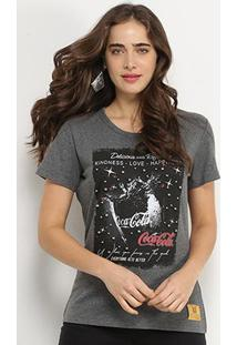 Camiseta Coca-Cola Everything Gets Better Apliques Feminina - Feminino-Mescla Escuro