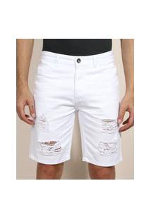 Bermuda De Sarja Masculina Slim Destroyed Branca