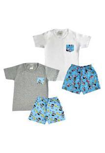 Kit 2 Pijama Infantil Menino Confortável Algodão Verão Calor