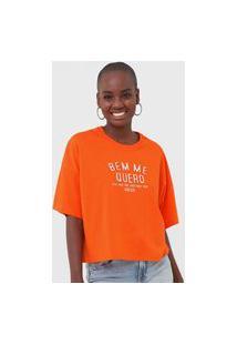 Camiseta Colcci Bem Me Quero Neon Laranja