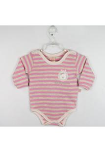 Body Bebê Manga Longa - Feminino-Listrado