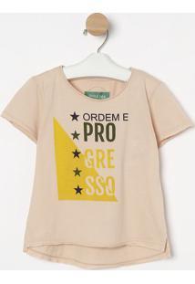 Camiseta Com Inscriã§Ãµes - Rosa Claro & Amarela- Shoushoulder