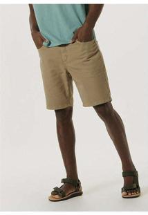 Bermuda Masculina Em Sarja Com Elastano Marrom