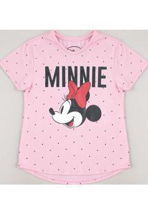 Blusa Juvenil Minnie Estampada Poá Manga Curta Rosa
