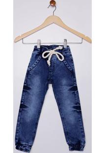 Calça Jogger Jeans Infantil Para Menino - Azul