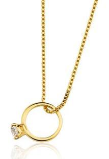 Colar Toque De Joia Mini Anel Solitário Ouro Amarelo - Feminino-Dourado