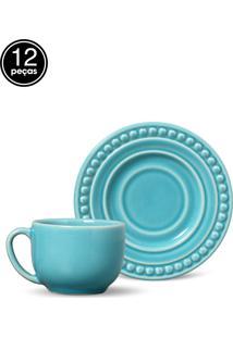 Conjunto De Xícaras De Chá Porto Brasil Atenas 12Pçs Azul