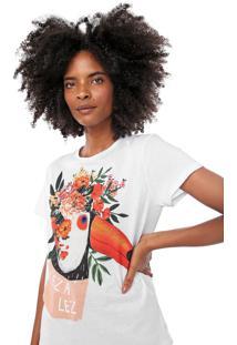Camiseta Lez A Lez Estampada Branca/Laranja