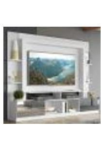 "Rack C/ Painel E Suporte Tv 65"" Portas C/ Espelho Oslo Multimóveis Branco"