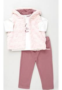 Conjunto Infantil Blusa Manga Longa Branca + Colete Com Pelo + Calça Em Moletom Rosa
