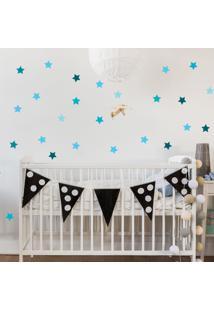 Adesivo De Parede Infantil Estrelas Azul - Tricae