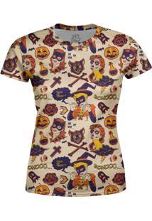 Camiseta Estampada Baby Look Over Fame Bege
