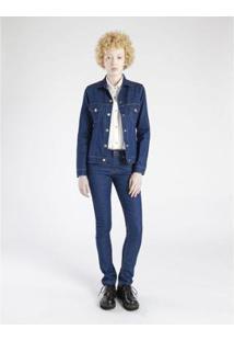 Jaqueta Jeans Amapô Skinny Feminina - Feminino-Azul