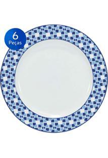 Conjunto Pratos Sobremesa Athena 6 Peças - Schmidt - Branco / Azul
