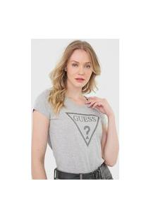 Camiseta Guess Logo Glitter Cinza