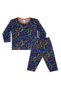 Conjunto Pijama Menino Em Meia Malha Rotativa Azul - Liga Nessa