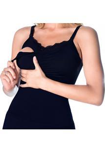 Camiseta De Amamentação Com Bojo Removível Preto M - Dica043 Dica De Lingerie