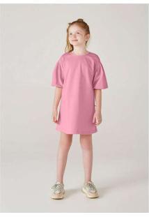 Vestido Infanti Menina Com Mangas Bufantes Rosa