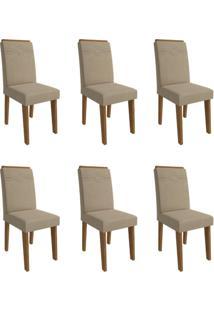 Conjunto Com 6 Cadeiras De Jantar Taís I Suede Savana E Caramelo
