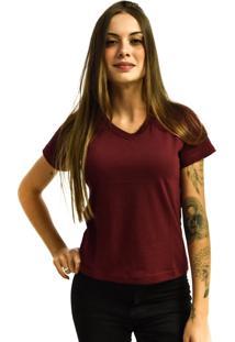 Camiseta Rich Young Gola V Básica Lisa Simples Malha Vinho