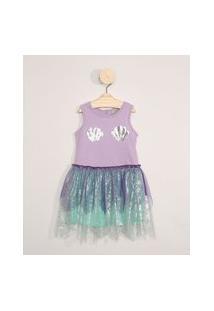 Vestido Infantil Sereia Sem Manga Lilás