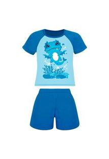 Pijama Infantil Menino Curto Lupo 20168-001 Azul