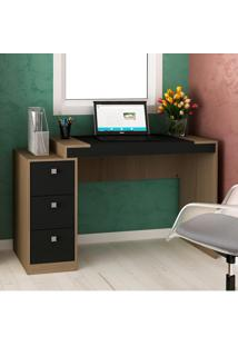 Mesa Para Computador 3 Gavetas Avelã Tx/Onix Tx - Hecol