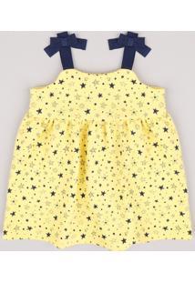 Vestido Infantil Estampado De Estrelas Com Laços Alça Média Amarelo