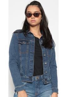 Jaqueta Jeans Com Bolsos- Azul Escuro - Heringhering
