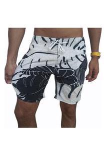 Bermuda Short Tactel E Elastano Opice Moda Praia Estampado Preto E Branco
