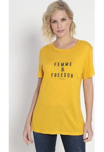"""Camiseta """"Femme & Freedom""""- Amarela & Preta- Colccicolcci"""