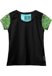 Camiseta Baby Look Feminina Algodão Estampa Folha Moderna - Feminino-Preto