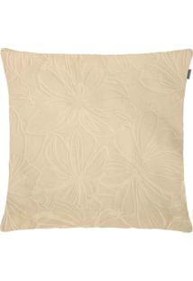 Capa Para Almofada Veludo Floral 45Cmx45Cm Marfim