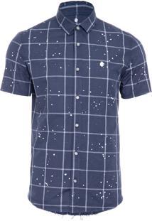 Camisa Masculina Quadriculada - Azul