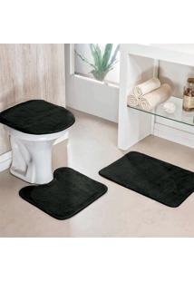 Jogo Banheiro Dourados Enxovais Liso 03 Peças Preto
