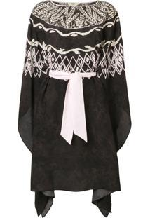 Fendi Vestido Pelerine Em Crepe De Chine - Preto