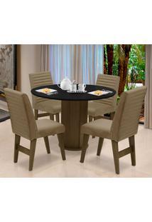 Conjunto De Mesa Para Sala De Jantar Com 4 Cadeira Turim-Dobue - Castanho / Preto / Mascavo Vlp Bordado