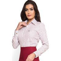 Camisa Social Premium Listrada Principessa Mila Branco Marsala 28ea5aa7fd266