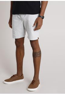 Bermuda Masculina Texturizada Com Cordão Cinza Claro