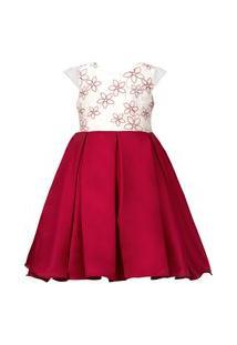 Vestido Infantil Cattai Bordado Vermelho