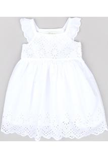 Vestido Infantil Em Laise Sem Manga Branco
