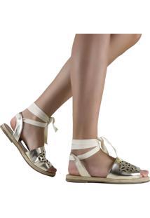 Sandália Zariff Shoes Rasteira Amarração Dourado