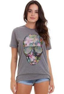 Camiseta Joss Básica Caveira Flores Feminina - Feminino-Chumbo