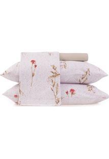 Jogo De Cama Malha In Cotton Floral Queen Size- Branco &Altenburg