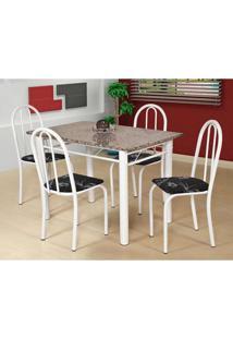 Conjunto De Mesa Com 4 Cadeiras Sara Branco E Preto Flor