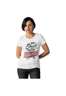Camiseta Feminina Ezok Caution Sk8R Branco
